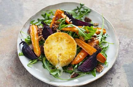 Salade de Selles-Sur-Cher pané et légumes rôtis